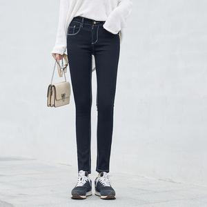 实拍A1090#黑色牛仔裤女2018春新品韩版弹力显瘦高腰小脚铅笔裤长