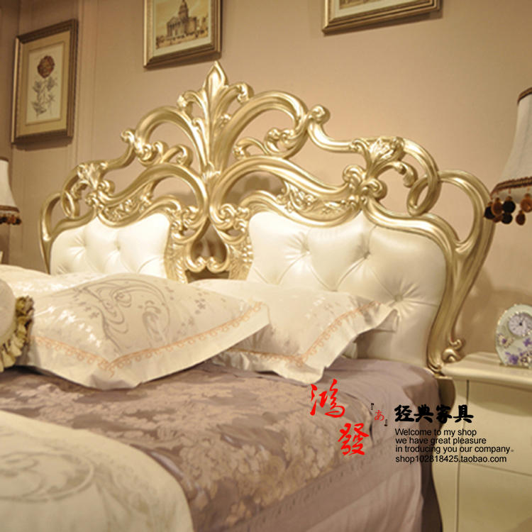 All wood marriage bed French neo classical double 1.8 meters Jane bed Zhuwo American princess bed bedroom furniture