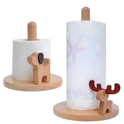 厨房纸巾架免打孔卫生间纸巾盒创意置物架实木质家用卷筒纸座桌面