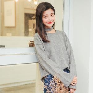 实拍3001#秋装新款韩版宽松百搭纯色套头毛衣挂脖针织衫女2