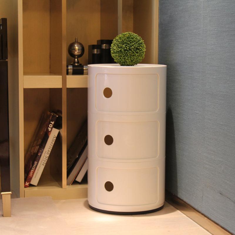 迷你小床头柜北欧简约现代边角储物柜多功能圆形塑料创意收纳柜
