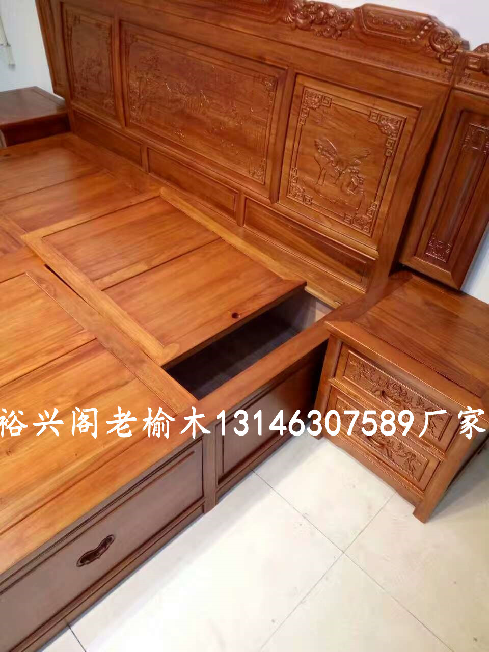 The old elm landscape double high box double wooden bed of classical Chinese of Ming and Qing Dynasties
