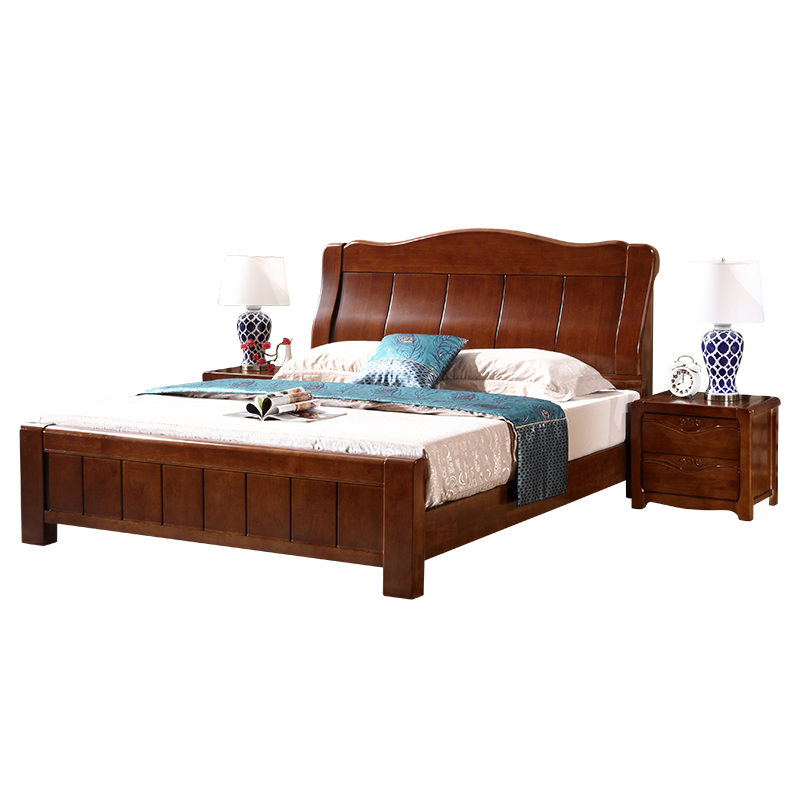 Chinese solid wood bed, 1.8 meters 1.5m double bed wedding bed master bedroom, simple economical type, high box storage oak bed