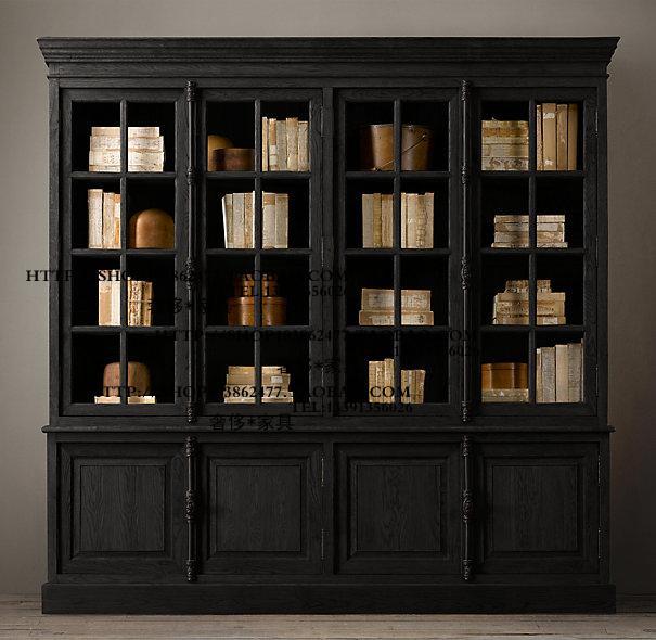 หมู่บ้านสไตล์ฝรั่งเศสฝรั่งเศสไม้โอ๊คโบราณสี่ล็อคประตูและล็อคกระจกตู้โชว์ตู้หนังสือตู้ด้านอาหาร