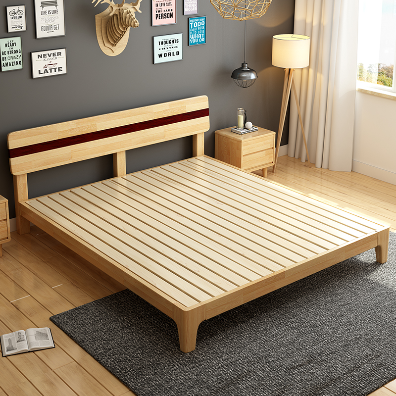 Nordic solid wood beds, all solid wood, soft double 1.5M1.8M double oak, oak Japanese style simple master bedroom furniture