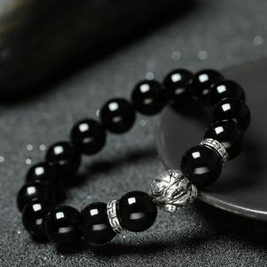 黑曜石貔貅手链男款女情侣韩版银首饰品个性佛珠转运手串新年礼物