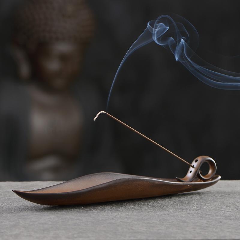 線香爐陶瓷香插香座仿古香盒臥香爐創意沉香檀香爐家用室內香薰爐
