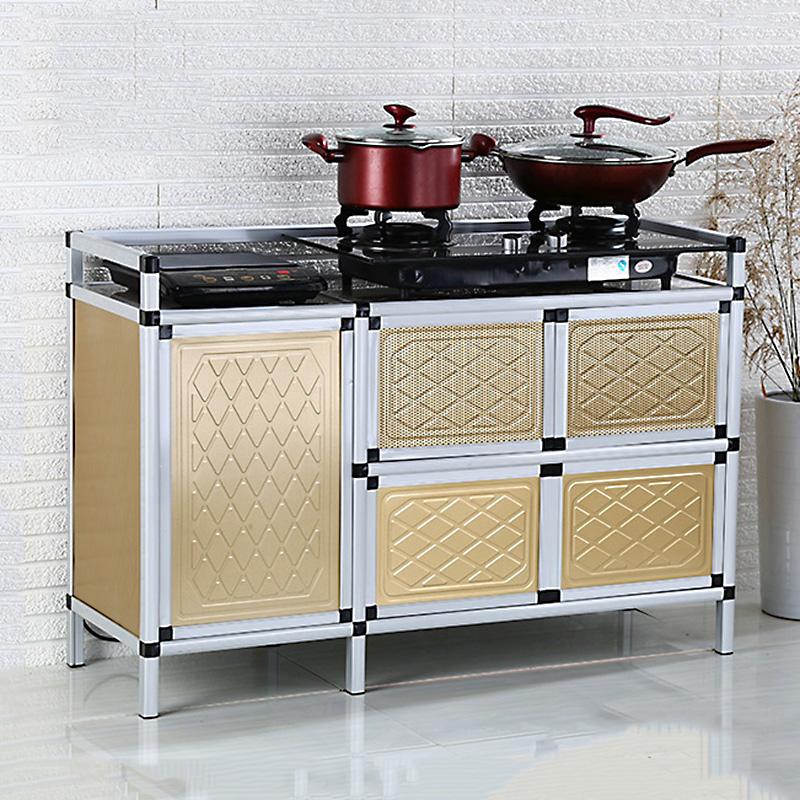 The cupboard Aluminum Alloy tea cabinet stainless steel kitchen cabinet cabinets kitchen cabinet cabinet with gas stove door
