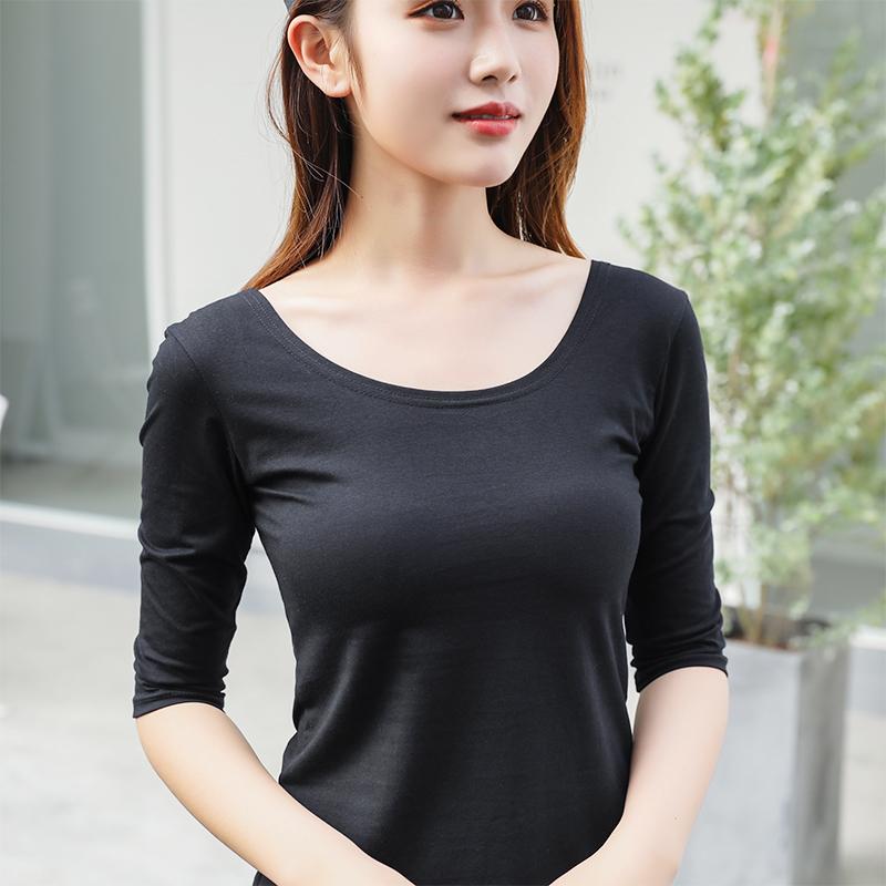 七分袖t恤女低领修身显瘦大领口打底衫U领中袖体恤女半袖女士上衣
