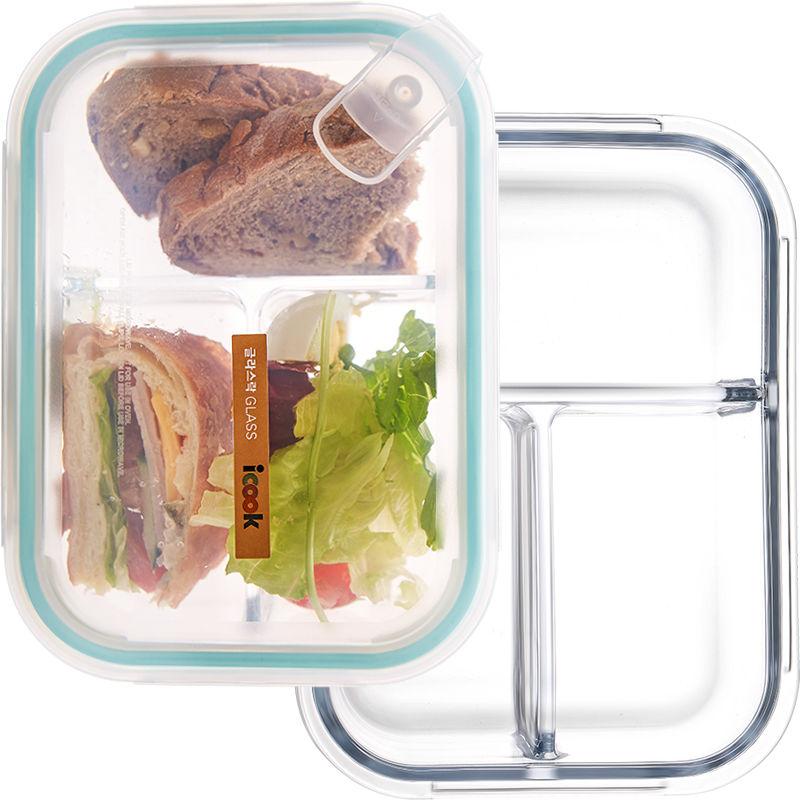 【送餐具】分隔玻璃饭盒微波炉加热上班族便当盒学生女保鲜盒带盖