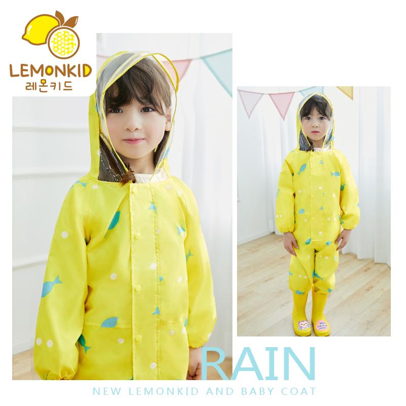 新品连体儿童雨衣男童女童大帽檐宝宝学生婴幼儿园卡通小孩雨披