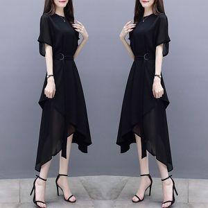 2019夏装新款女装修身中长裙短袖不规则气质名媛黑色雪纺连衣裙女