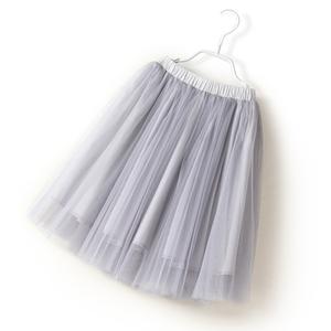 米贝米西 儿童夏季中大童女童黑色百褶半身裙网纱中长裙韩版舞蹈