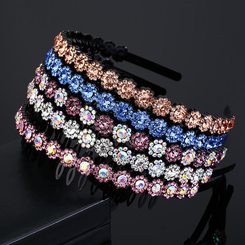 Simple crystal all-match toothed hoop hairpin head hoop slip female top clip clip Korea face headdress hairpin