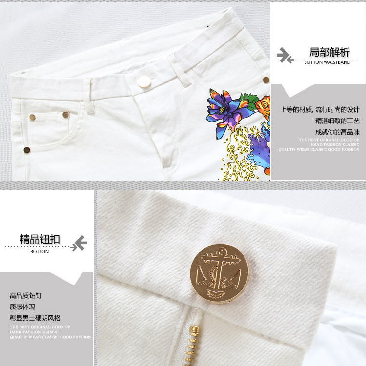 Youth thin printed jeans The city boy cultivate one's morality white trousers Spring, summer, Chinese wind flower pants cotton men's trousers