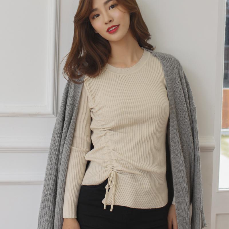 包芯纱韩版短款V领抽绳毛衣打底衫女长袖套头修身显瘦针织打底衫