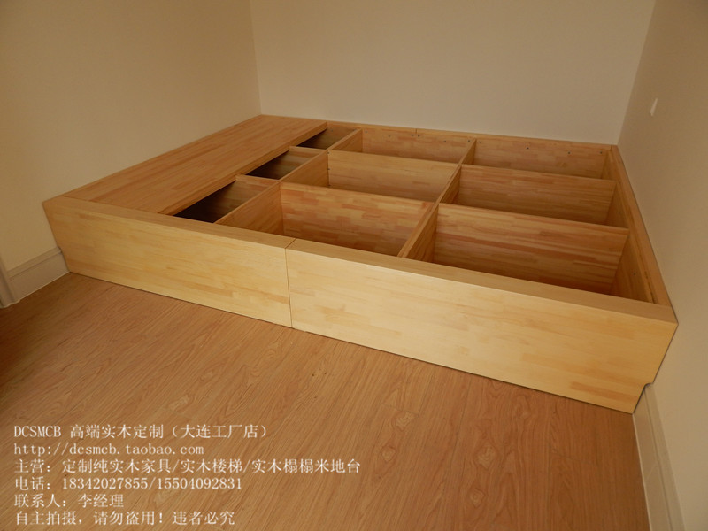 Japanese tatami platform with cypress bed / lifting table and table / pure wood formaldehyde factory in Dalian