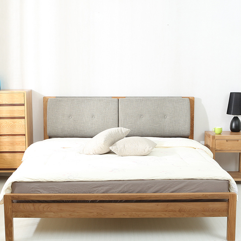 White oak on the soft bed beioufeng wood soft bed Japanese modern minimalist 1.51.8 meters single bed