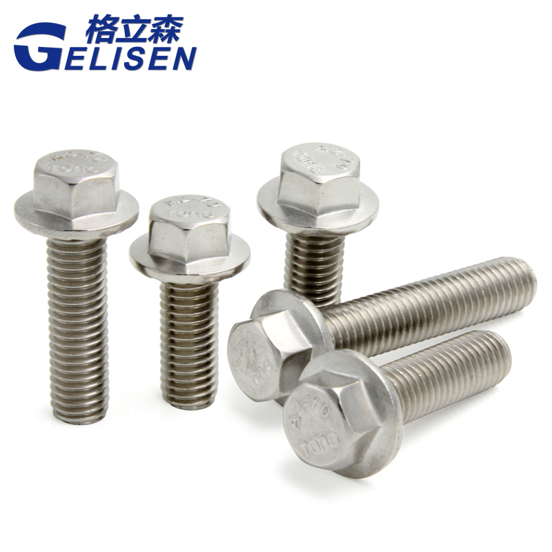 304 stainless steel flange surface six angle screw 5789 big head with tooth six angle flange bolt M8M10M12