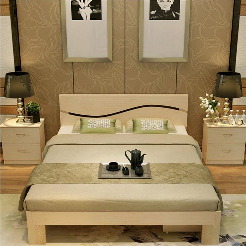 The new shipping wood simple bed 1.5 tatami bed 1.8 meters double bed pine 1 meters 1.2 meters single bed for children