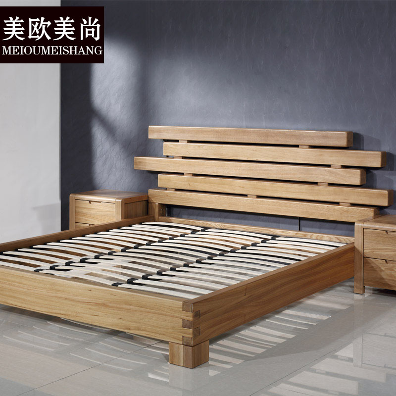 Pure solid wood bed elm wooden double bedroom modern minimalist single bed 1.5 meters Nordic wooden Chinese elm