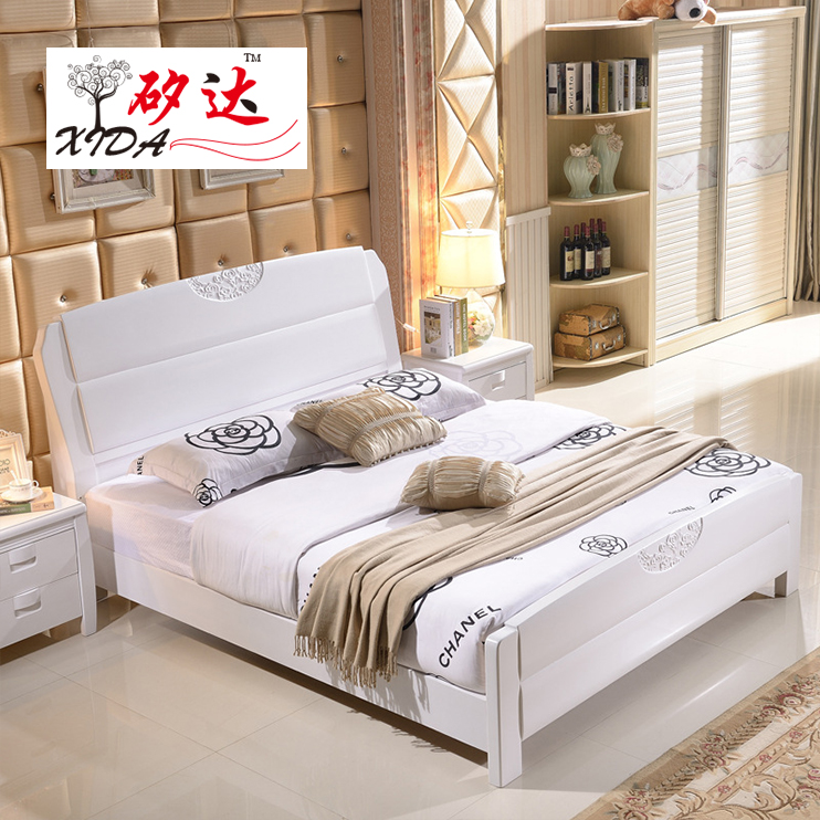 All solid wood bed furniture, children 1.21.5 Princess oak, 1.8 meters high box, special single and double white bed