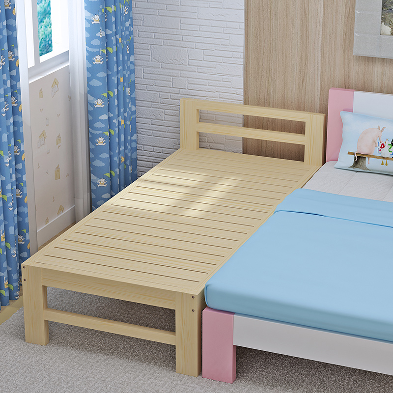 New bed splicing bed custom made solid wood lengthened bed pine bed bed, children's single bed double bed can be widened