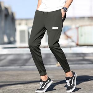 英拉格休闲裤男夏季超薄款韩版潮流修身小脚男士九分裤运动裤子