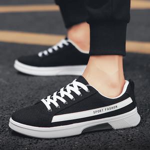 2019新款夏季男鞋透气亚麻系带休闲板鞋男式时尚运动跑步鞋子