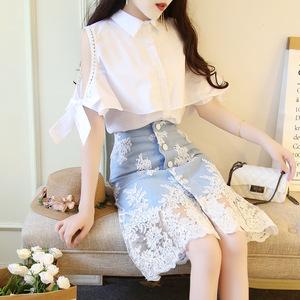 2019新款港味衬衫牛仔裙春夏气质翻领白衬衫刺绣半身裙两件套装