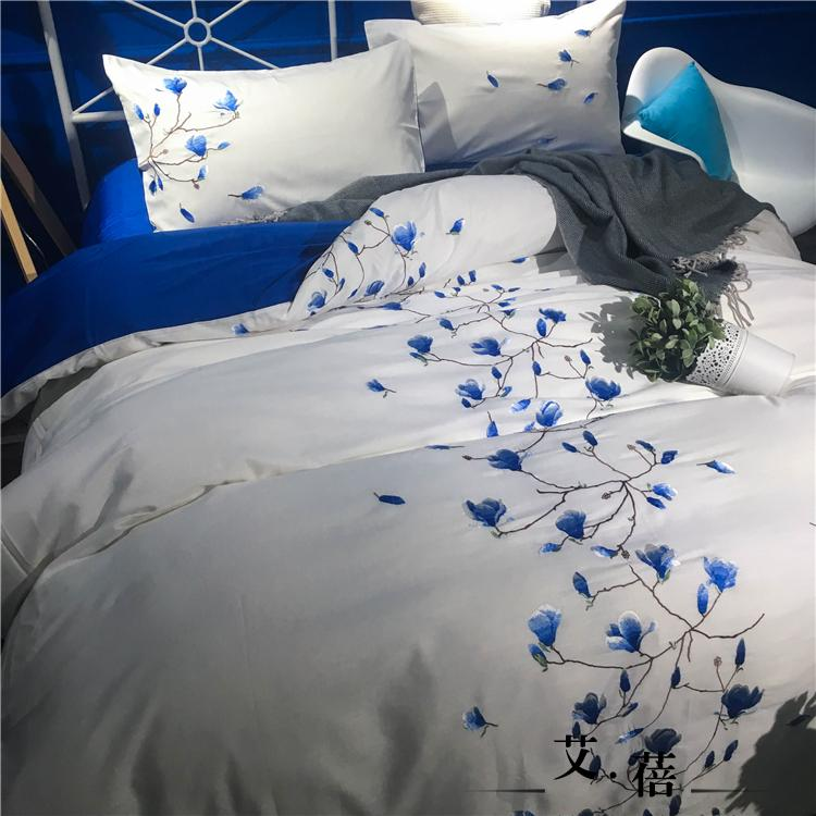 The new Chinese model of the cotton and Tencel bedding set of four 1.8m 2 meters double bed single simple embroidery