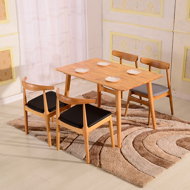 Nordic solid wood white oak table, modern simple table chair combination, small family table 4 people, 6 table dining table