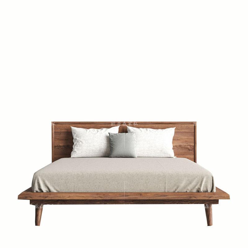 Nordic Japan all solid wood black walnut bed oak 1.8 meters double bed modern simple bedroom wedding bed