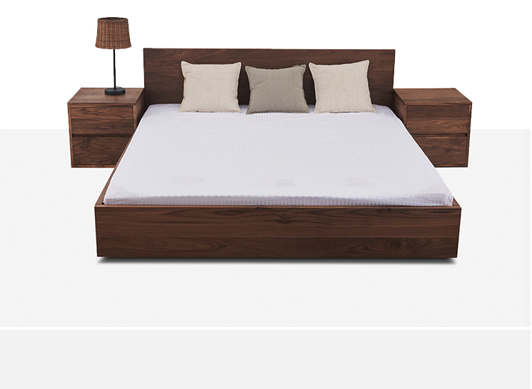 The Nordic minimalist modern minimalist black walnut wood bed bed solid wood bed 1.8 meters double bed North American black walnut