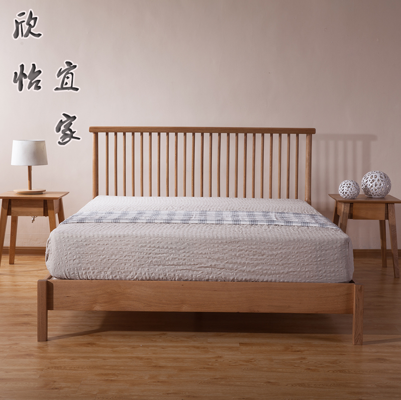 Nordic solid wood double bed imported oak black walnut oil bed, modern simple natural bedroom furniture