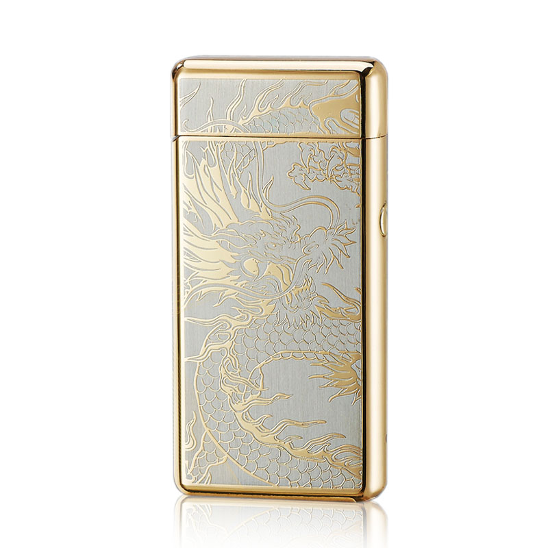 USB charging advanced electronic lighter double arc laser pulse induction high end anti wind lettering