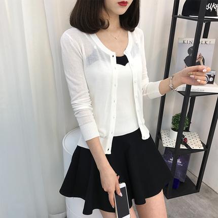 针织衫夏季开衫女外搭短款长袖冰丝 韩版薄款棉麻外套新款潮 百搭