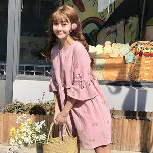 夏季女装日系软妹学生宽松中长裙小清新花朵印花系带棉麻连衣裙潮