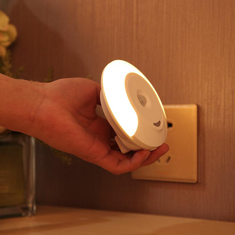 مأخذ ضوء التحكم في جسم الإنسان الاستشعار مصباح الليل ضوء دافئ المكونات الكهربائية الصمام توفير الطاقة مع التبديل غرفة نوم السرير منذ الرضاعة
