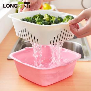 家用双层塑料洗菜篮沥水厨房客厅洗菜盆创意水果盘漏水篮
