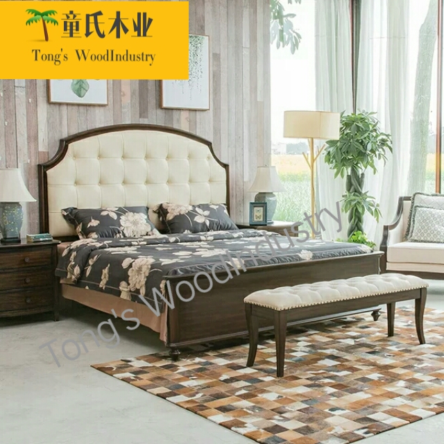 American pure solid European style retro double bed, simple modern soft leather, 1.8 meters, newly married bedroom furniture