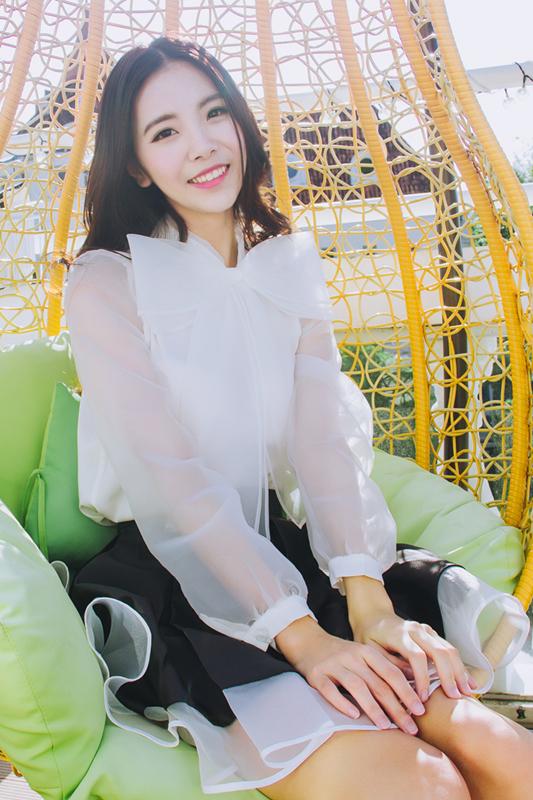 In de herfst van fan schat een shirt met lange mouwen organza grote strik wit shirt 2017 nieuwe han van studenten.