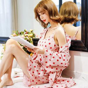 韓版睡衣女夏天甜美可愛吊帶純棉三件套帶胸墊寬松學生家居服套裝
