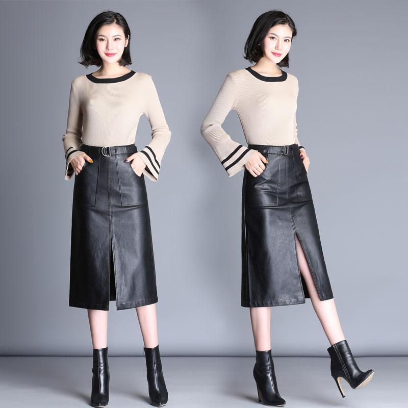 高腰a字半身裙皮裙女秋鼕新款黑色大碼pu皮中長款包臀開叉一步裙