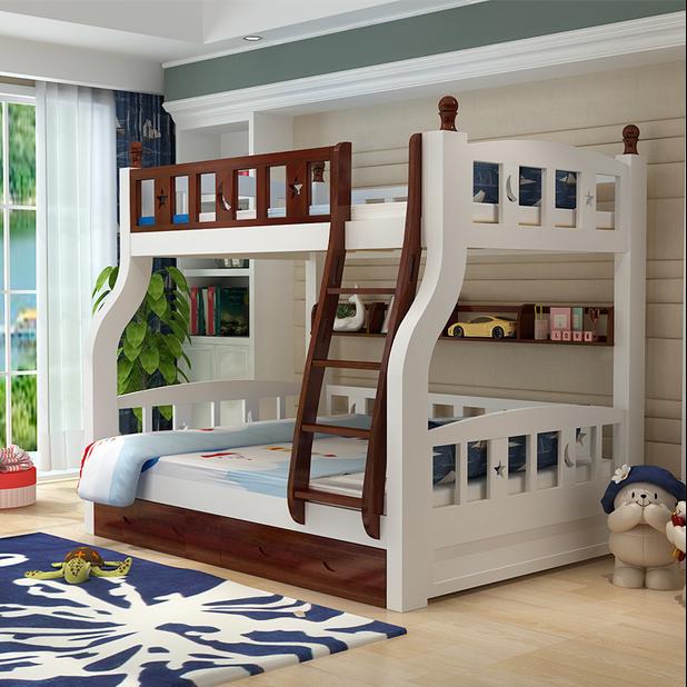 En la cama de madera y debajo la cama litera la función combinada de cama de madera de pino de niños bajo la cama