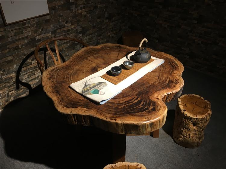 Bois un zèbre or table table de travail créatif de la table ronde de simplicité en bois massif table table table à thé de disque annulaire de la plaque