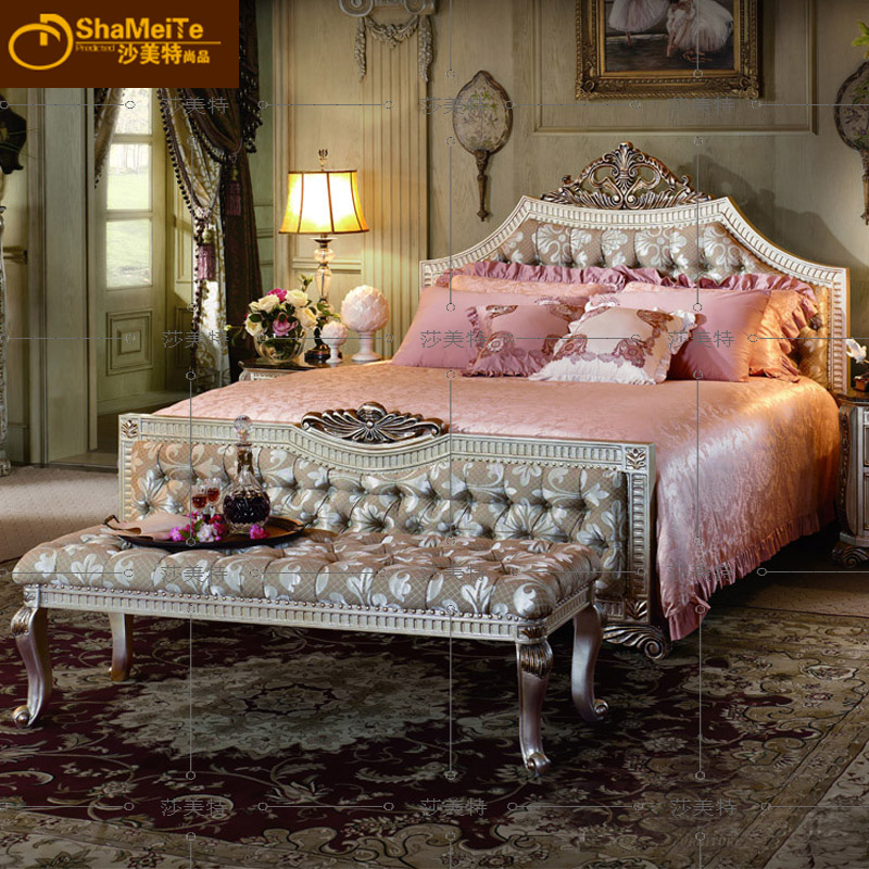 European style cloth bed, all solid wood double bed, American classical bed, luxury bed, high-end villa, buckle, soft bed, marriage bed