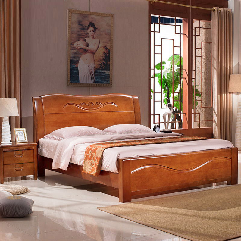 Solid wood bed, 1.8 meters, 1.5 meters, double beds, oak beds, modern new Chinese style storage bed, economical 7149-BUJR