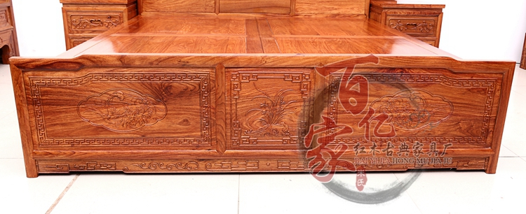 Rosewood new Guangdong classical Chinese furniture, African pear rosewood, big bed, solid wood double bedroom
