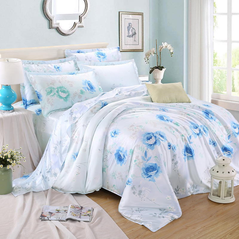 Tencel four sets of four sets of 1.5 spring and summer ice silk silk quilt bedding sheets 1.8m